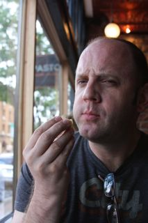 Jon enjoying yummy food at Pasto's