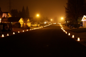Luminaries all down the street