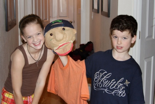 Breah, Jamie the puppet, and Hastin