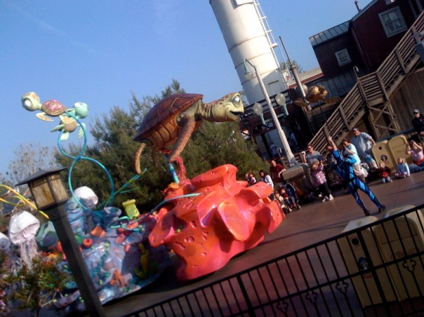 the Pixar parade that came right by our dinner table!